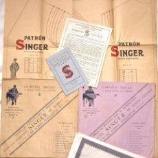 Antigüedades: PRECIOSO Y COMPLETO CONJUNTO DE LABORES BORDADOS PATRONES MAQUINAS DE COSER SINGER AÑOS 20 - 30. Lote 49844119