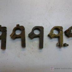 Antigüedades: LOTE 5 CONTACTOS ELECTRICOS DE LATON 6 CM LONGITUD. Lote 49849980