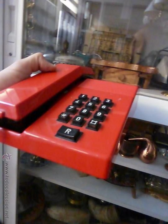 Teléfonos: TELEFONO TEIDE COLOR ROJO DE SOBREMESA - TELEFONO ROJO VINTAGE - TELEFÓNO DE TECLAS, FUNCIONA - Foto 2 - 64351122