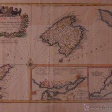Antigüedades: CARTA DES ISLES DE MAIORQUE, MINORQUE ET YVICE. MR. BELLIN INGENIERO DEL REY Y DE LA MARINA. 1756.. Lote 50474276