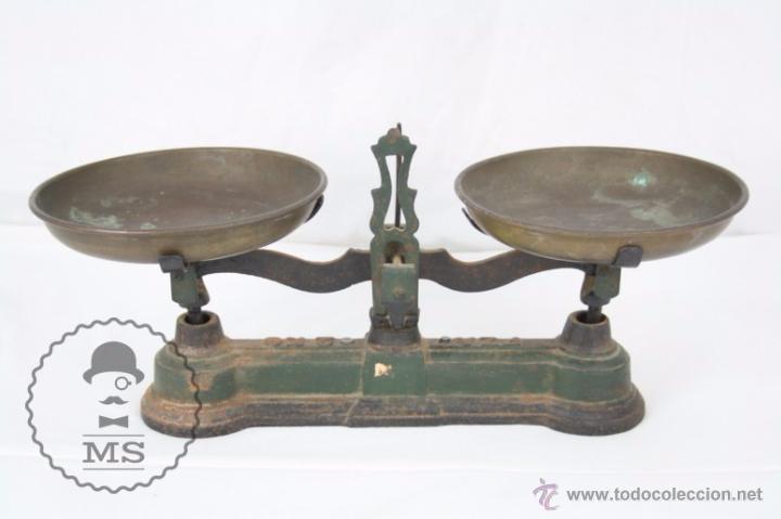 Antiquitäten: Antigua Balanza de Hierro - Marcada FZA - 2 Kilos - C. 1900 - Medidas 40 x 17 x 19 Cm - Foto 7 - 50506039