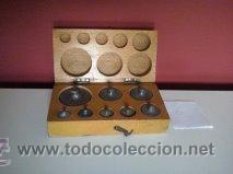 Antigüedades: ANTIGUA CAJA CON 8 PESAS EN BRONCE Nº6 100% COMPLETO Y ORIGINAL - Foto 2 - 50606468