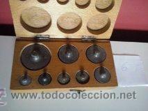 Antigüedades: ANTIGUA CAJA CON 8 PESAS EN BRONCE Nº6 100% COMPLETO Y ORIGINAL - Foto 4 - 50606468