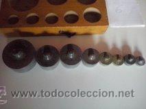Antigüedades: ANTIGUA CAJA CON 8 PESAS EN BRONCE Nº6 100% COMPLETO Y ORIGINAL - Foto 6 - 50606468