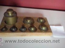 HERMOSO JUEGO DE ANTIGUAS PESAS BRONCE Nº7 (Antigüedades - Técnicas - Medidas de Peso Antiguas - Otras)