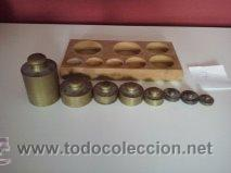 Antigüedades: HERMOSO JUEGO DE ANTIGUAS PESAS BRONCE Nº7 - Foto 2 - 50606880