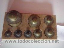 Antigüedades: HERMOSO JUEGO DE ANTIGUAS PESAS BRONCE Nº7 - Foto 3 - 50606880