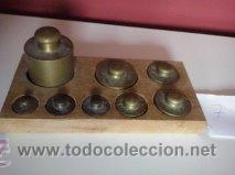 Antigüedades: HERMOSO JUEGO DE ANTIGUAS PESAS BRONCE Nº7 - Foto 4 - 50606880