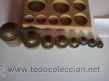 Antigüedades: HERMOSO JUEGO DE ANTIGUAS PESAS BRONCE Nº7 - Foto 5 - 50606880