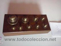Antigüedades: ANTIGUA CAJA CON 9 PESAS EN BRONCE Nº3 MUY HERMOSA - Foto 2 - 50607045