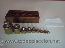 Antigüedades: ANTIGUA CAJA CON 9 PESAS EN BRONCE Nº3 MUY HERMOSA - Foto 5 - 50607045