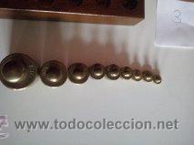 Antigüedades: ANTIGUA CAJA CON 9 PESAS EN BRONCE Nº3 MUY HERMOSA - Foto 6 - 50607045