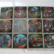 Antigüedades: ALI BABA (LINTERNA MÁGICA). 12 PLACAS DE CRISTAL 8'5X8. Lote 50641544