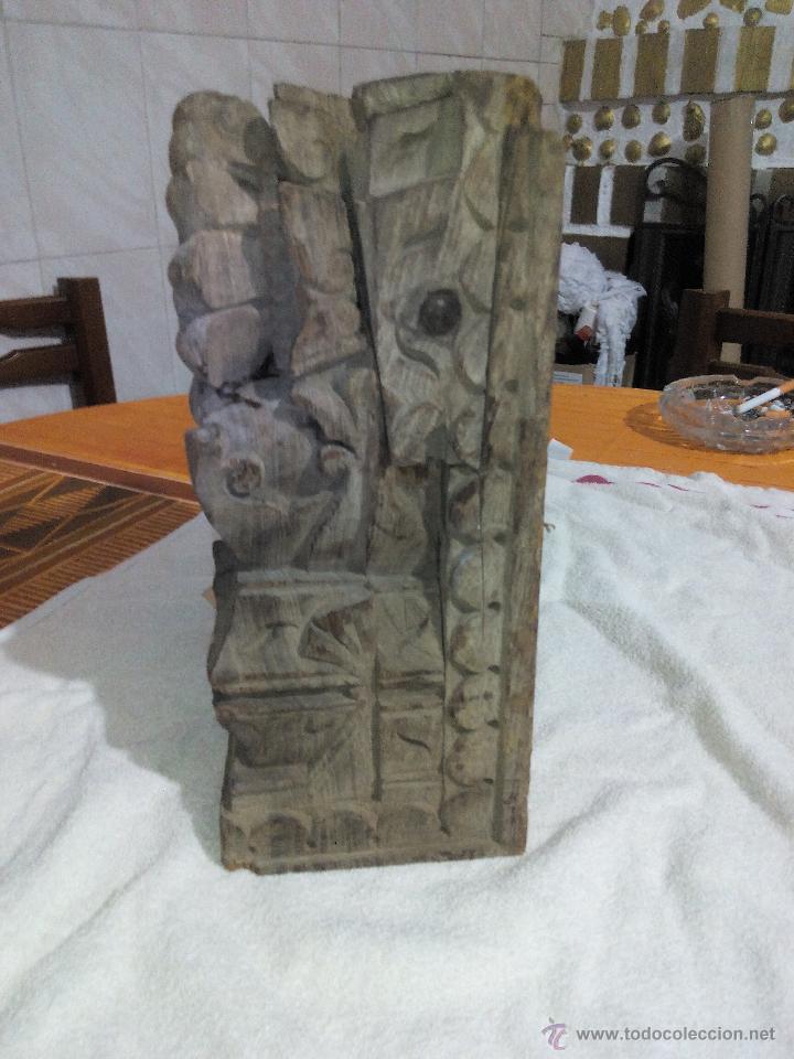 Antigüedades: Antiquisimo adorno para techo de madera tallada a mano,indú siglo xviii/xix.pIEZA UNICA - Foto 2 - 50706824