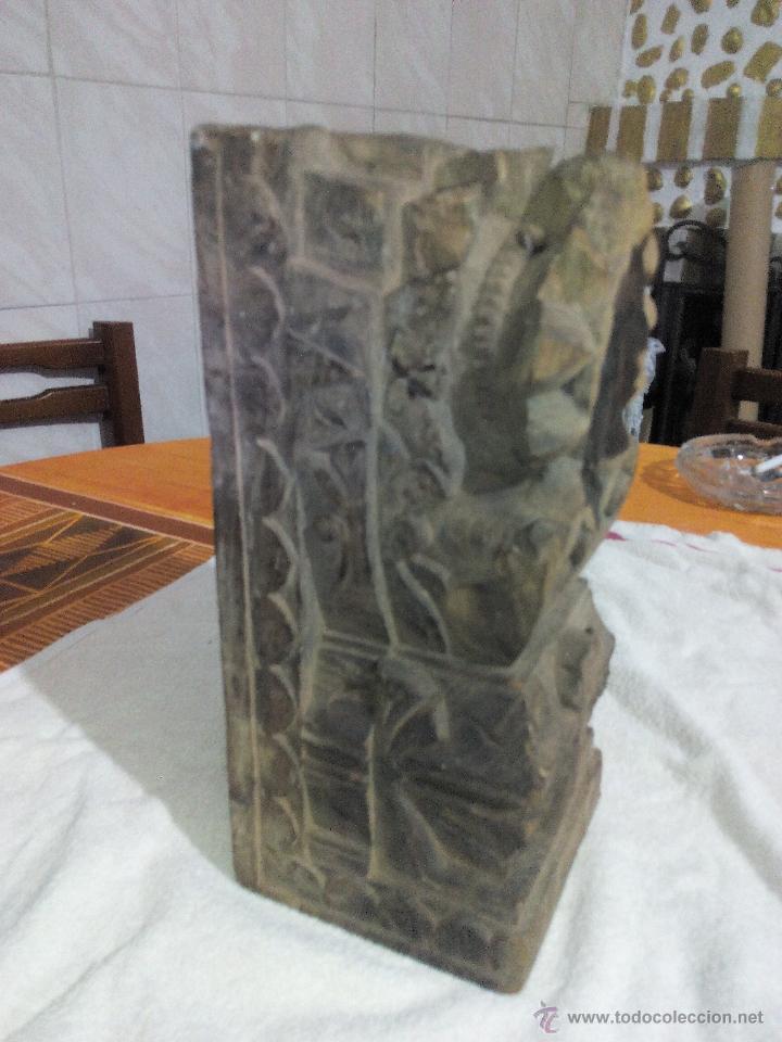 Antigüedades: Antiquisimo adorno para techo de madera tallada a mano,indú siglo xviii/xix.pIEZA UNICA - Foto 3 - 50706824
