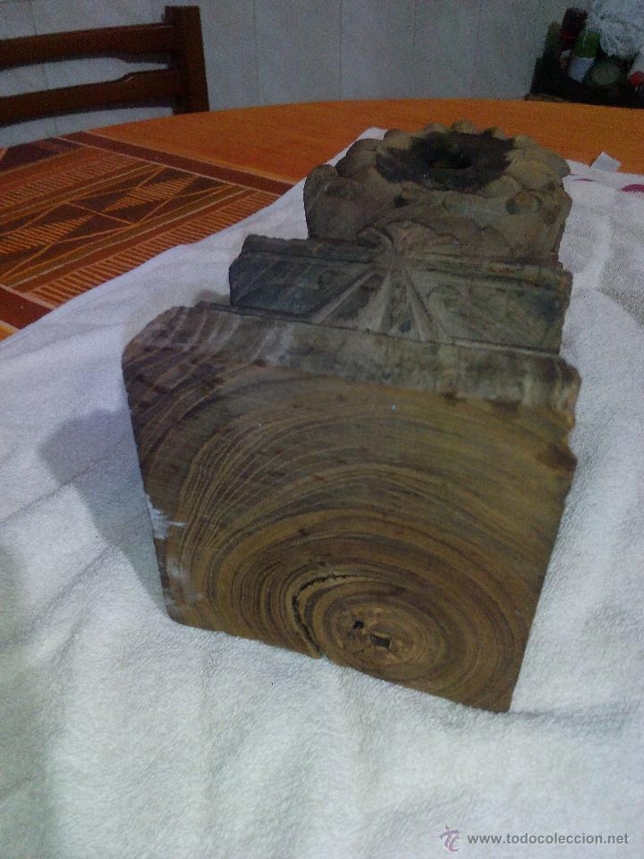 Antigüedades: Antiquisimo adorno para techo de madera tallada a mano,indú siglo xviii/xix.pIEZA UNICA - Foto 4 - 50706824