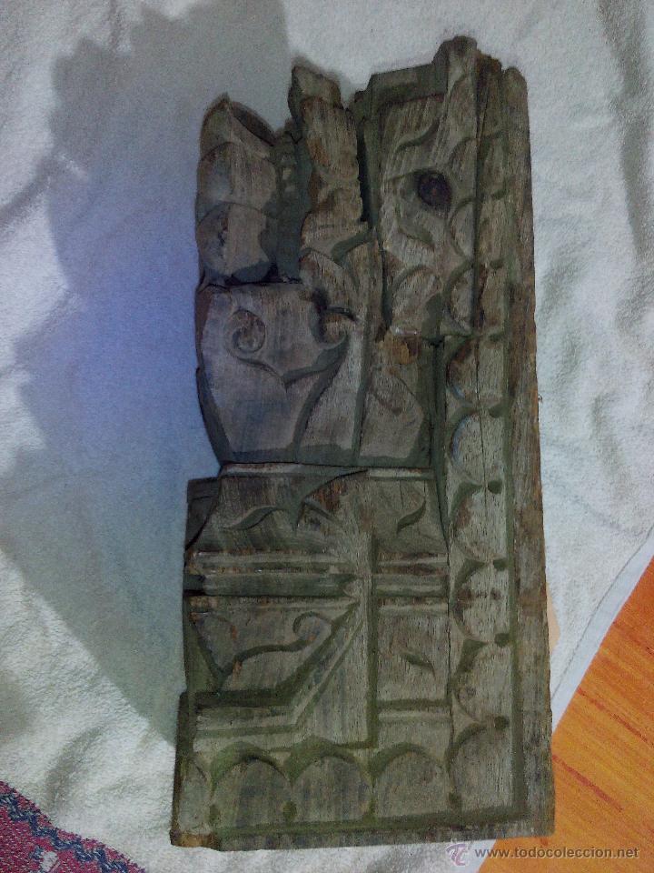 Antigüedades: Antiquisimo adorno para techo de madera tallada a mano,indú siglo xviii/xix.pIEZA UNICA - Foto 6 - 50706824