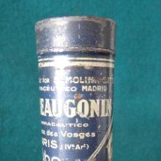 Antigüedades: AMIDAL. GATTEAU. MADRID. BEAUGONIN. PARIS . REG. SAN 1924. ANTIGUA CAJA LATA FARMACIA. LLENA. RARA.. Lote 50741777