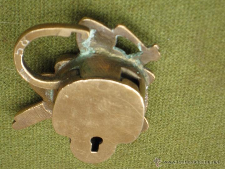 Antigüedades: CANDADO ANTIGUO DE COLECCION EN BRONCE. - Foto 3 - 50750961