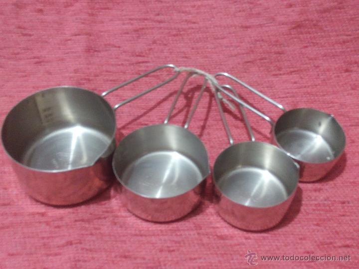 Antigüedades: Antiguas medidas de liquido en acero inoxidable. 4 medidas diferentes. - Foto 2 - 50758347