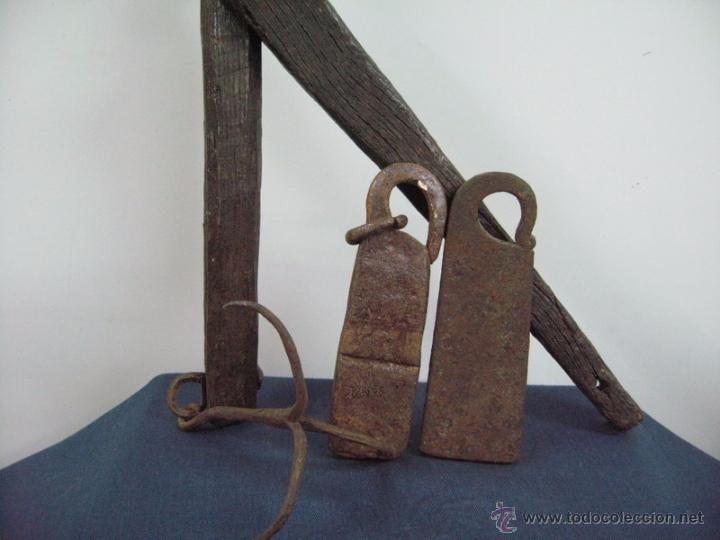 Antigüedades: antigua bascula balanza madera hierro peso ponderal (2) forja - Foto 3 - 51014240