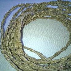 Antigüedades: CABLE TELA AÑOS 50 CON ENCHUFE DE GOMA Y PORCELANA. Lote 51073481