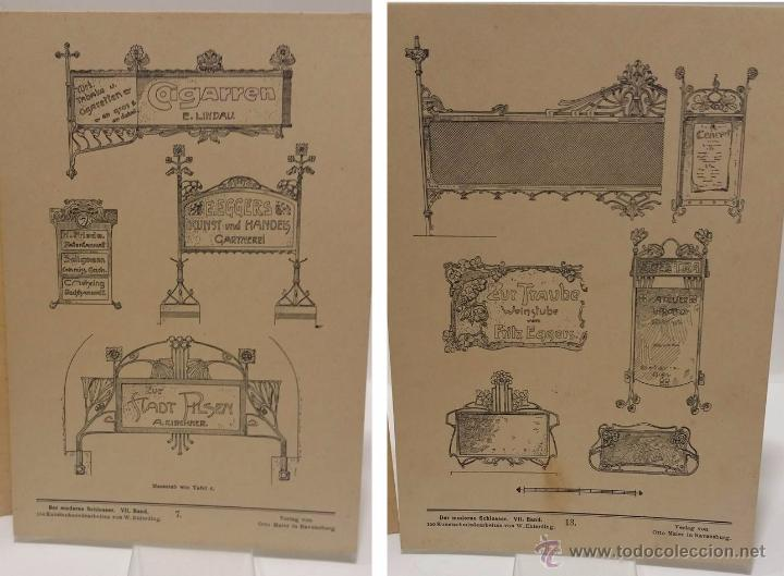 Antigüedades: ANTIGUO CATALOGO DE ELEMENTOS ARQUITECTURA FORJA ART NOUVEAU- DER MODERNE SCHLOSSER C.1.900 - Foto 5 - 51054564