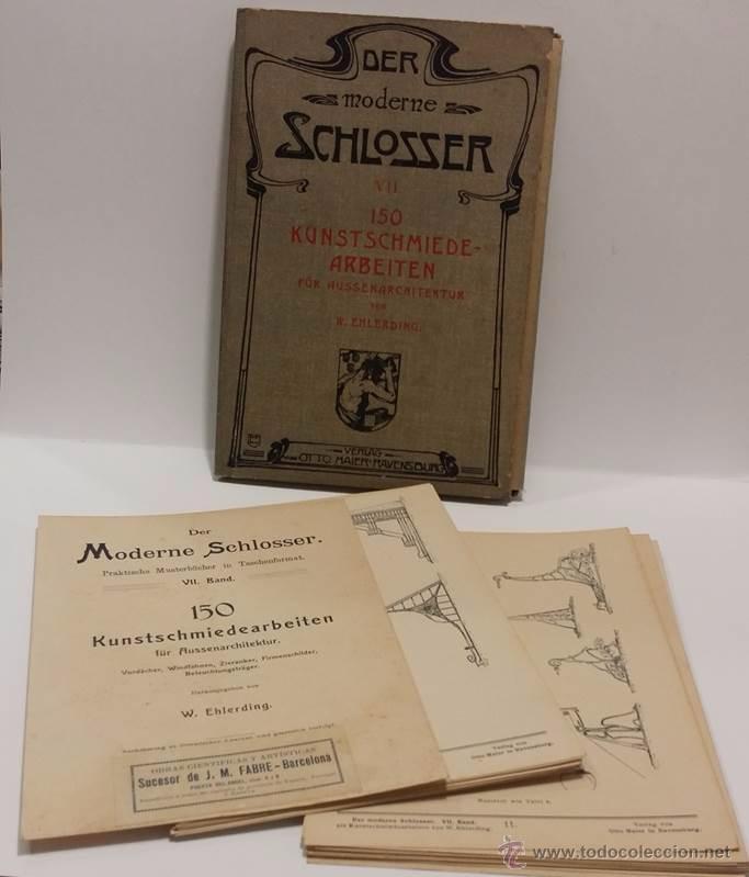 Antigüedades: ANTIGUO CATALOGO DE ELEMENTOS ARQUITECTURA FORJA ART NOUVEAU- DER MODERNE SCHLOSSER C.1.900 - Foto 6 - 51054564