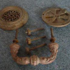 Antigüedades: CONJUNTO MIRADOR ANTIGUO PARA PUERTA Y AGARRADOR. Lote 43608330