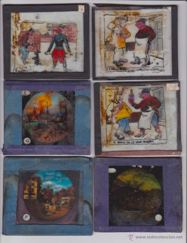 7 PLACAS INDIVIDUALES PARA LINTERNA MÁGICA (Antigüedades - Técnicas - Aparatos de Cine Antiguo - Linternas Mágicas Antiguas)