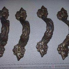 Antigüedades: 4 TIRADORES EN BRONCE TRABAJADOS REF. 014 DE 10 CMS.. Lote 51348953