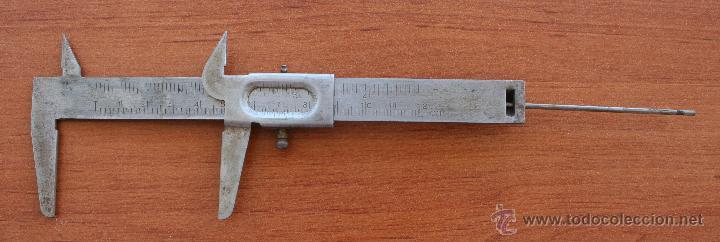 Antigüedades: ANTIGUO CALIBRADOR MEDIDOR REGLA PIE DE REY DE ACERO – HERRAMIENTA PARA COLECCIONISTAS - Foto 2 - 51350151