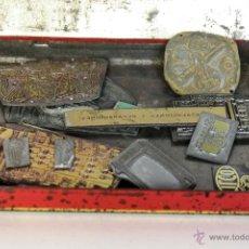 Antigüedades: 14 MOLDES O TROQUEL DE IMPRENTA ( ESCUDO SEVILLA, LLAVES, TELEVISOR, CAMARA FOTOS ETC..VER FOTOS). Lote 51397418