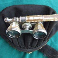 Antigüedades: BINOCULARES PRISMATICOS DE TEATRO METAL Y NACAR GEMELOS FINALES XIX + BOLSO DE MANO MISMA EPOCA. Lote 51557128