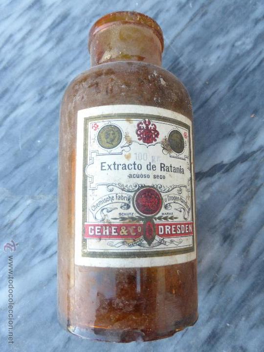 Antigüedades: Antigua botella frasco cristal farmacia extracto RATANIA acuoso seco Gehe & Co. Dresden-PRINC. SIGLO - Foto 4 - 51624033