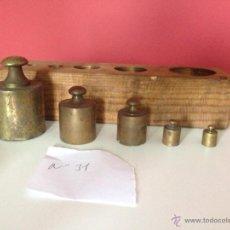 Antigüedades: Nº31 ANTIGUA CAJA DE PESAS EN BRONCE,100% ORIGINAL. Lote 51624625