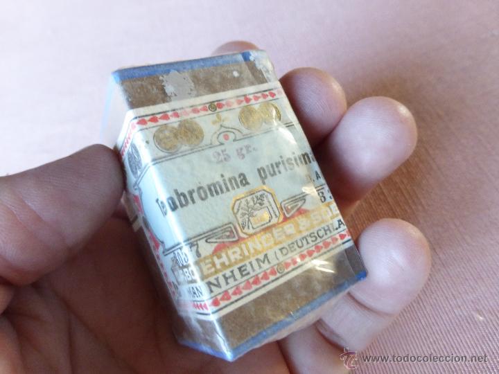 Antigüedades: Antigua caja de medicamento teobromina purisima , boehringer , en su caja y precintado - Foto 5 - 51628216