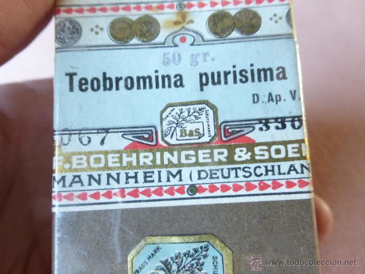Antigüedades: Antigua caja de medicamento teobromina purisima , boehringer - en su caja y precintado - Foto 7 - 51628235