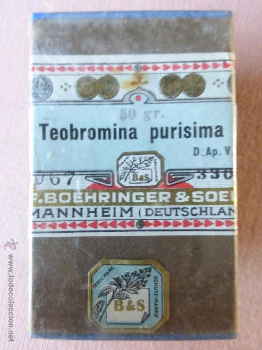 Antigüedades: Antigua caja de medicamento teobromina purisima , boehringer - en su caja y precintado - Foto 8 - 51628235