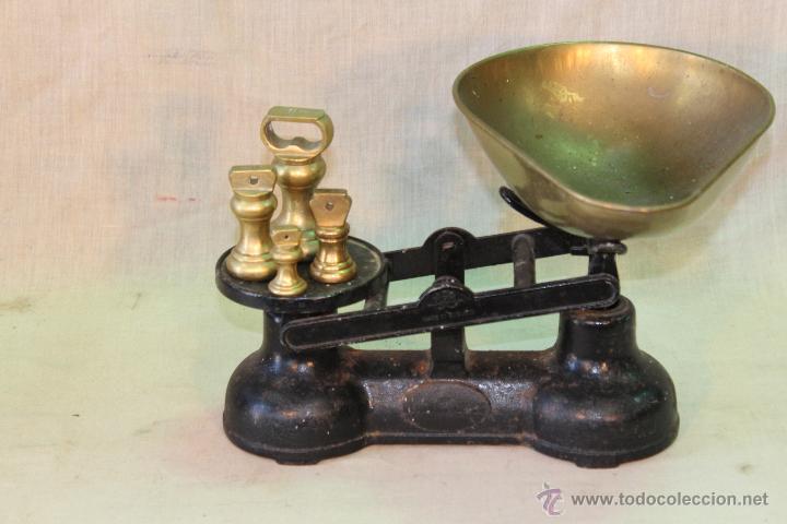 Antigüedades: BALANZA INGLESA CON JUEGO DE PESAS EN BRONCE - Foto 2 - 51714866