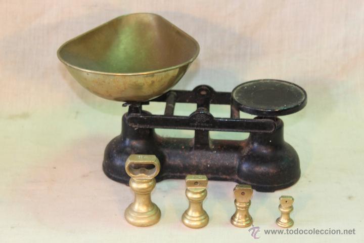 Antigüedades: BALANZA INGLESA CON JUEGO DE PESAS EN BRONCE - Foto 3 - 51714866