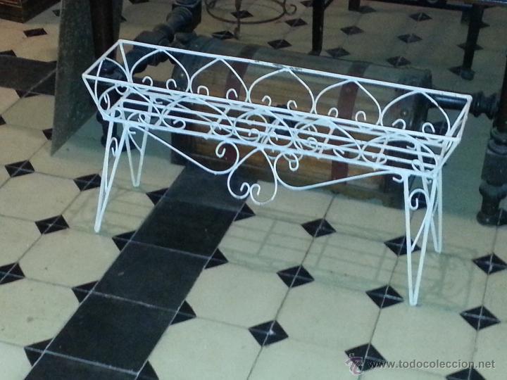 precioso macetero patas jardinera forja hierro rectangular para macetas metal antiguo original antigedades