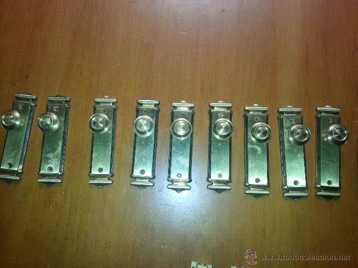 TIRADORES - 9 UNIDADES TIRADOR METAL PARA PUERTAS O MUEBLES 12.5 X 3,5 CM (Antigüedades - Técnicas - Cerrajería y Forja - Tiradores Antiguos)