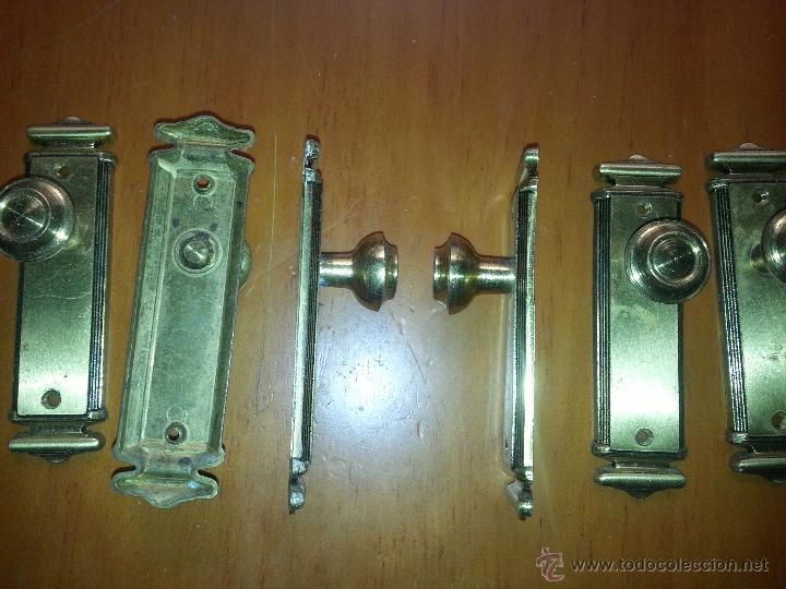 Antigüedades: tiradores - 9 unidades tirador metal para puertas o muebles 12.5 x 3,5 cm - Foto 3 - 51960542