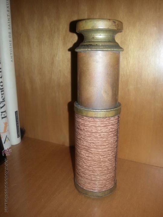 Antigüedades: antiguo catalejo pequeño de metal - Foto 3 - 51983698
