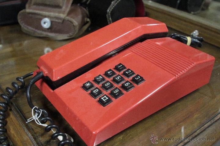 TELEFONO TEIDE SOBREMESA ROJO NEGRO VINTAGE (Antigüedades - Técnicas - Teléfonos Antiguos)