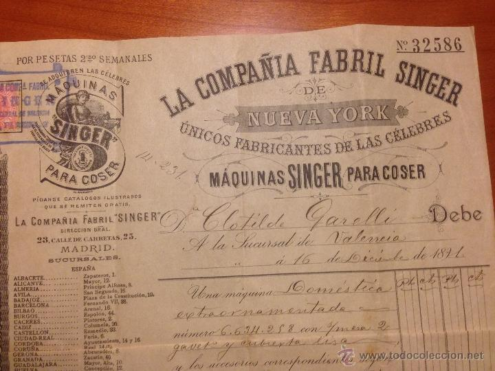 Antigüedades: Factura de compra Maquina Singer 1891 - Foto 2 - 52336061