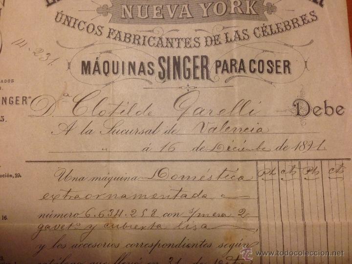 Antigüedades: Factura de compra Maquina Singer 1891 - Foto 4 - 52336061