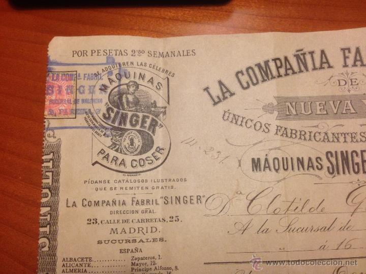 Antigüedades: Factura de compra Maquina Singer 1891 - Foto 5 - 52336061