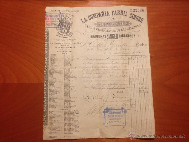 Antigüedades: Factura de compra Maquina Singer 1891 - Foto 6 - 52336061